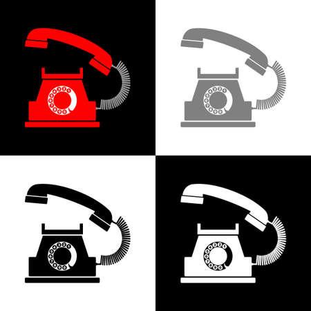 Telephone icon set, vector illustration