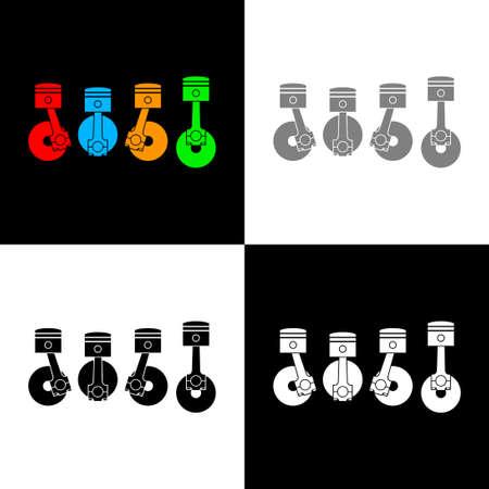 Car pistons icon set, vector illustration 向量圖像