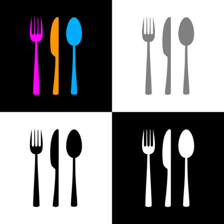 Cutlery icon set, vector illustration Çizim