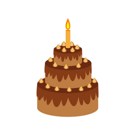 Chocolate cake vector icon on white background
