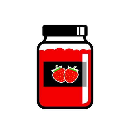 Strawberry jam vector icon on white background