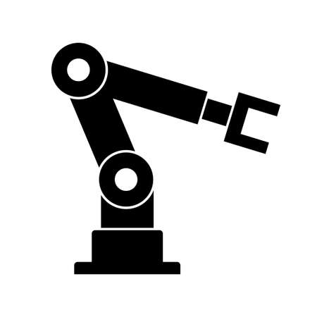 Industrial robot, vector icon on white background