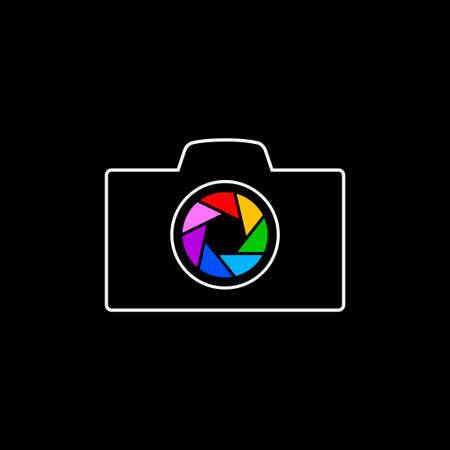 Camera vector icon on black background 向量圖像