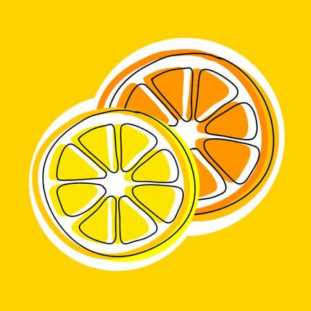 Orange and lemon, vector icon on yellow background Иллюстрация