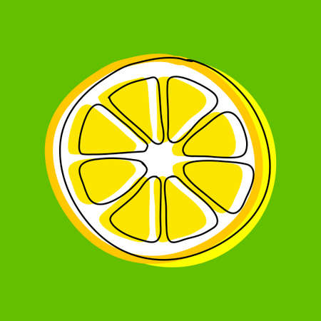 Yellow lemon, vector icon on green background