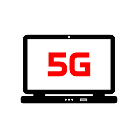 Laptop vector icon on white background, 5G network