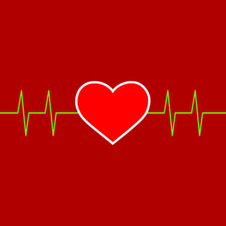 Heart on red background, vector illustration