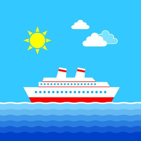 Cruise ship in blue sea, vector illustration    Иллюстрация
