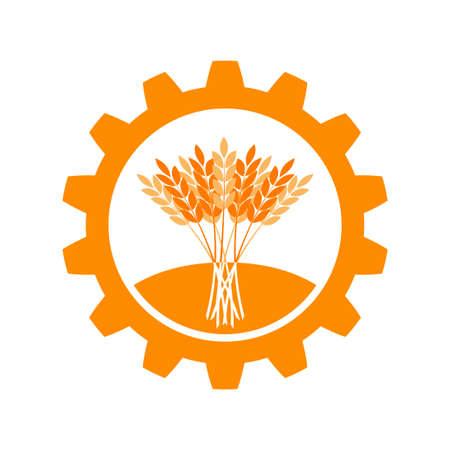 Agriculture vector icon, wheat ears in cogwheel