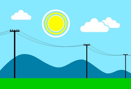 Power line in landscape, vector illustration