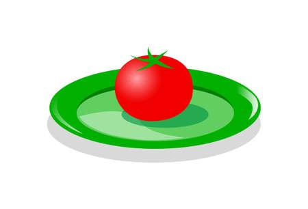 Tomato on green plate, vector illustration