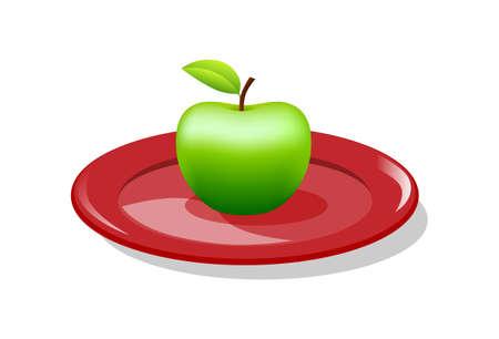 Green apple on red plate, vector illustration  Иллюстрация