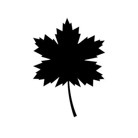 Black maple leaf, vector icon on white background Иллюстрация