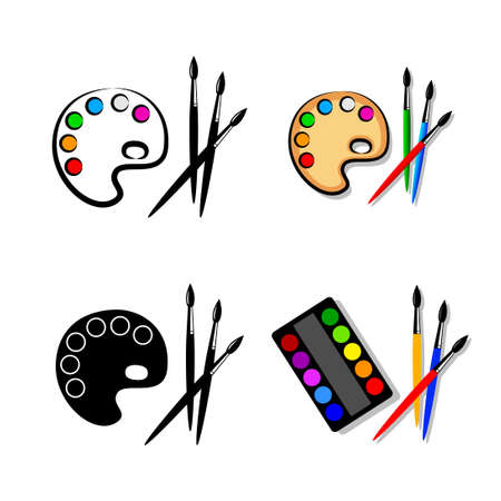 Paint brush with palette, vector icon on white background