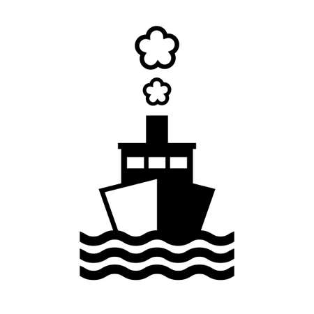 Black ship vector icon on white background, isolated object
