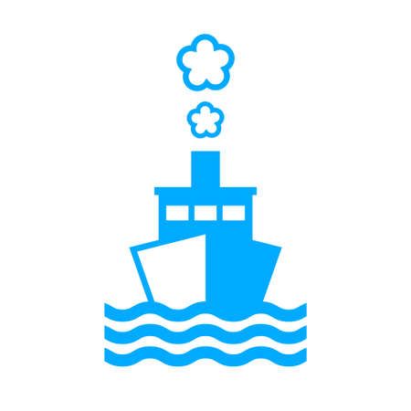 Blue ship vector icon on white background, isolated object
