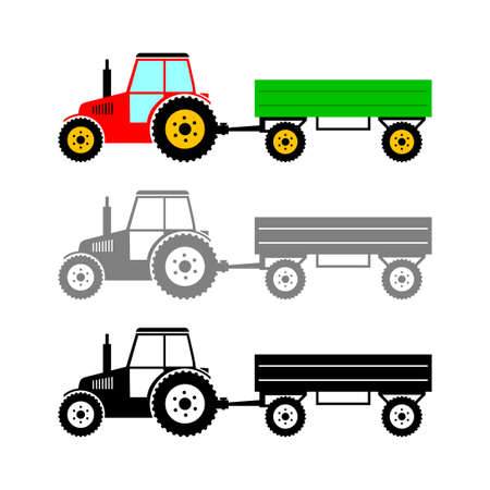 Tractor vector icon on white background Иллюстрация