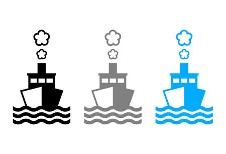 Ship vector icon on white background Иллюстрация