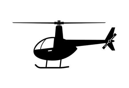 Black helicopter vector icon on white background