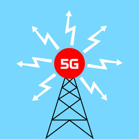 Transmitter tower 5G, vector icon on blue background Иллюстрация