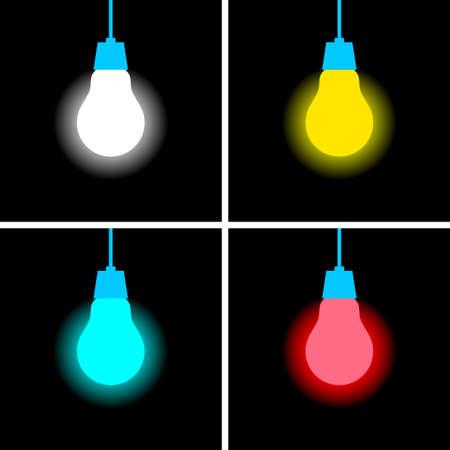 Lightbulb vector icon on black background