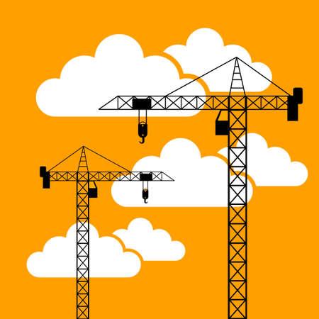 Tower crane icon, vector illustration
