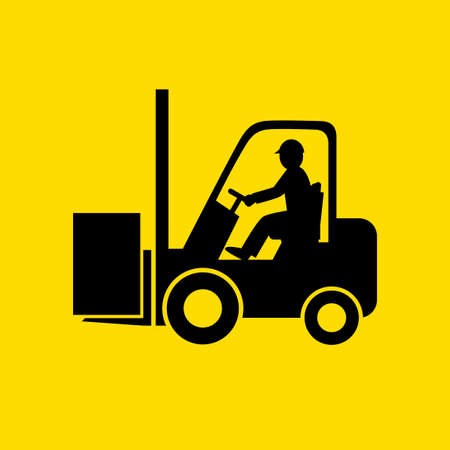 Black forklift truck vector icon on yellow background