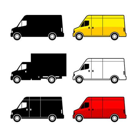 Delivery van on white background, vector illustration