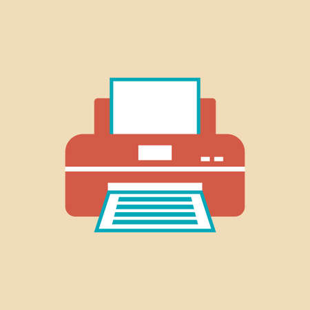 Printer with paper, vector icon
