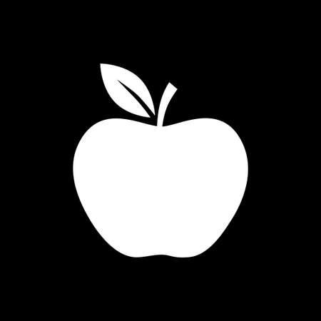 Apple vector icon on black background
