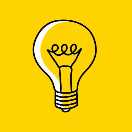 Lightbulb drawing on yellow background Иллюстрация