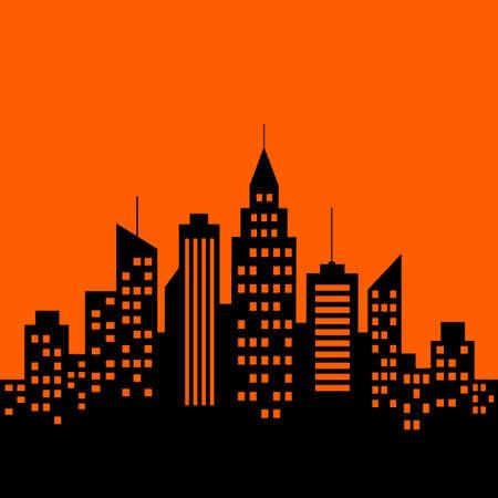 City vector icon, black silhouette on orange background Иллюстрация