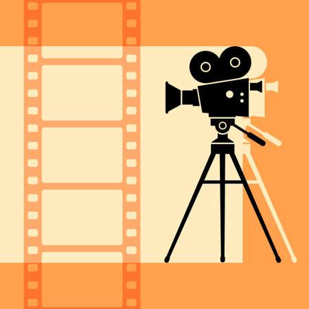 Movie camera vector icon, retro background