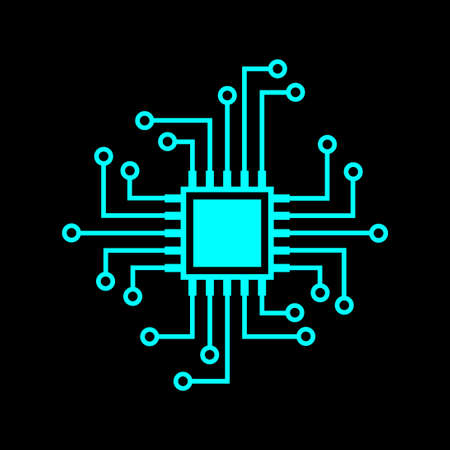 Blue microprocessor vector icon on black background