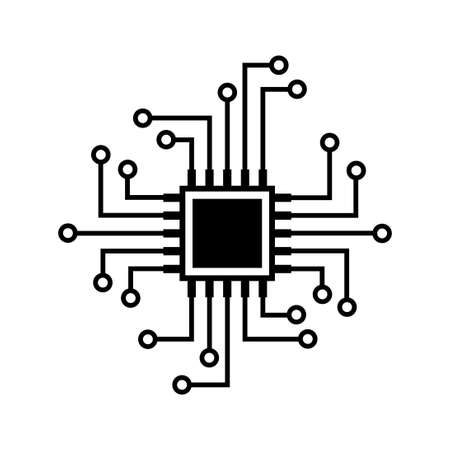 Microprocessor vector icon on white background