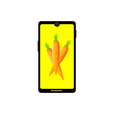 Smartphone vector icon on white background, online food shopping