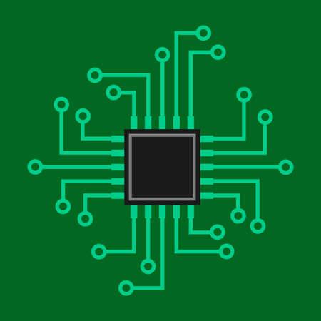 Microprocessor vector icon on green background Иллюстрация