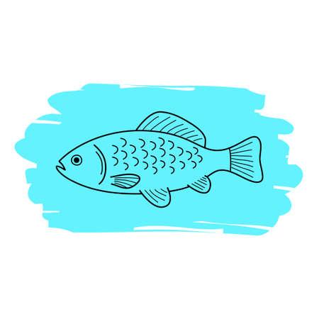 Fish vector icon, hand drawing