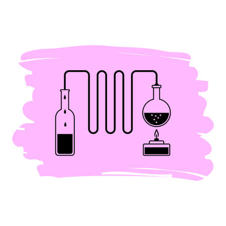 Distiller vector icon, science experiment