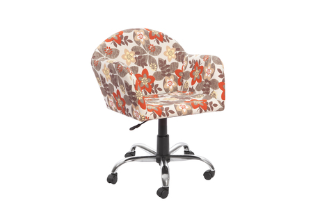 floral color armchair. Modern designer chair on white background. Textile chair. Stock Photo