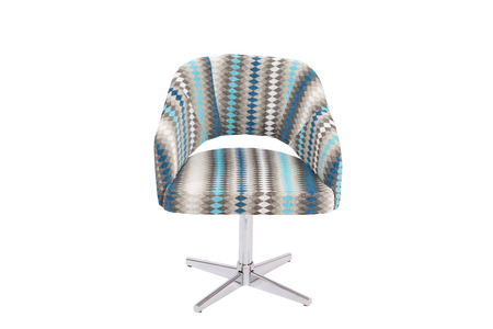 Blue and grey color armchair. Modern designer chair on white background. Textile chair.