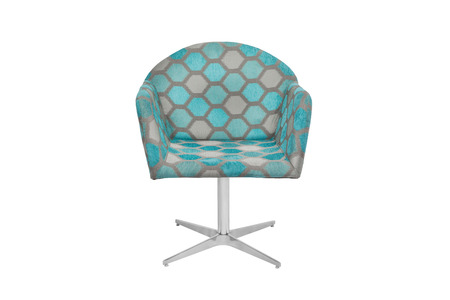 Blue and gray color armchair. Modern designer chair on white background. Texture chair.
