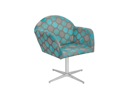 cushioned: Blue and gray color armchair. Modern designer chair on white background. Texture chair.