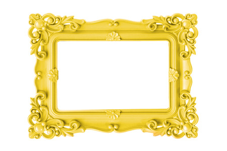 artsy: Modern plastic bright yellow picture frame with antique styling isolated on white background. Stock Photo