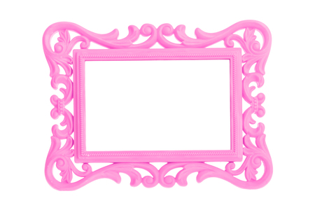 artsy: Modern plastic bright pinkpicture frame with antique styling isolated on white background.