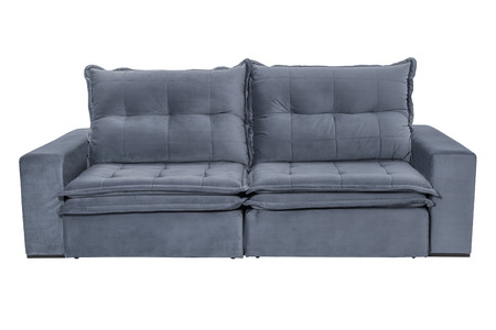 modern blue suede couch sofa   isolated on white background