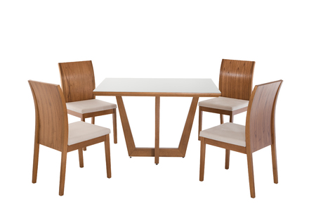 Table and four chairs on white background.
