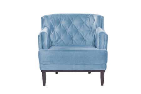 Blue armchair. Modern designer chair on white background. Texture chair.