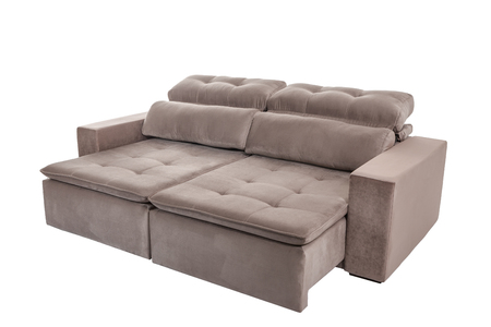 modern brown suede couch sofa   isolated on white background