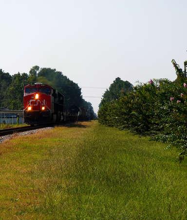 verticals: a freight train making it way north